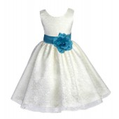 Ivory/Turquoise Floral Lace Overlay Flower Girl Dress Special Event 163S