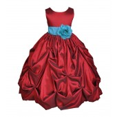 Apple / Turquoise Satin Taffeta Pick-Up Bubble Flower Girl Dress 301S