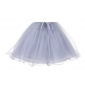 Silver Glitter Sequin Tulle Flower Girl Dress Pretty Princess B-011