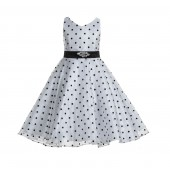 White / Black Organza Polka Dot V-Neck Rhinestone Flower Girl Dress 184