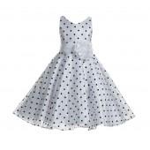 White / Black / White Organza Polka Dot V-Neck Flower Girl Dress 184T