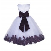 White/Plum Lace Top Tulle Floral Petals Flower Girl Dress 165T