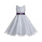 White / Purple Organza Polka Dot V-Neck Rhinestone Flower Girl Dress 184