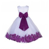 White/Raspberry Lace Top Tulle Floral Petals Flower Girl Dress 165T