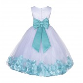 White/Spa Lace Top Tulle Floral Petals Flower Girl Dress 165T