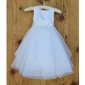 White/White Satin Bodice Shimmering Organza Flower Girl Dress J012