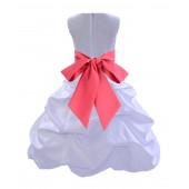 White/Watermelon Satin Pick-Up Bubble Flower Girl Dress Wedding 806S
