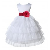 White/Watermelon Satin Shimmering Organza Flower Girl Dress Wedding 308S