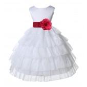 White/Watermelon Satin Shimmering Organza Flower Girl Dress Pageant 308T