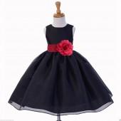 Black/Watermelon Satin Bodice Organza Skirt Flower Girl Dress 841S