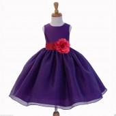 Purple/Watermelon Satin Bodice Organza Skirt Flower Girl Dress 841S
