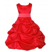 Red/Watermelon Satin Pick-Up Bubble Flower Girl Dress Christmas 806S