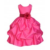 Fuchsia/Watermelon Satin Pick-Up Flower Girl Dress Recital 208T