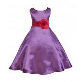 Purple/Watermelon A-Line Satin Flower Girl Dress Party Recital 821T