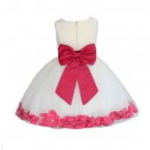 Ivory/ Watermelon Rose Petals Tulle Flower Girl Dress Pageant 305T