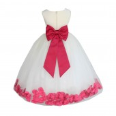 Ivory/Watermelon Tulle Rose Petals Flower Girl Dress Pageant 302T