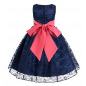 Navy / Watermelon Floral Lace Overlay Flower Girl Dress Lace Dresses 163s