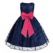 Navy Blue / Watermelon Floral Lace Overlay Flower Girl Dress Elegant Beauty 163T