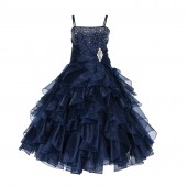 Marine Rhinestone Organza Layers Flower Girl Dress Elegant Stunning 164S