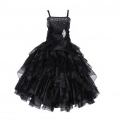 Black Rhinestone Organza Layers Flower Girl Dress Elegant Stunning 164S