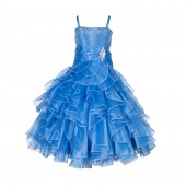 Cornflower Rhinestone Organza Layers Flower Girl Dress Elegant Stunning 164S