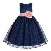 Navy / Peach Floral Lace Overlay Flower Girl Dress Lace Dresses 163s