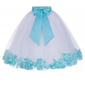 White / Spa Blue Floral Lace Heart Cutout Flower Girl Dress with Petals 185T