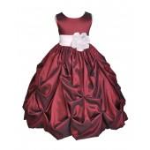 Burgundy/White Satin Taffeta Pick-Up Bubble Flower Girl Dress 301S