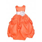 Orange/White Satin Taffeta Pick-Up Bubble Flower Girl Dress 301S