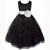 Black/White Satin Bodice Organza Skirt Flower Girl Dress 841T
