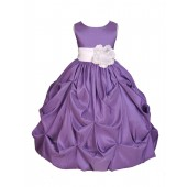 Purple/White Satin Taffeta Pick-Up Bubble Flower Girl Dress 301S
