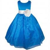 Royal Blue/White Satin Bodice Organza Skirt Flower Girl Dress 841T