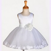 White/White Rose Petals Tulle Flower Girl Dress Wedding 305S