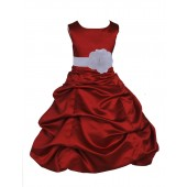 Apple Red/White Satin Pick-Up Bubble Flower Girl Dress 808T
