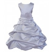 Silver/White Satin Pick-Up Bubble Flower Girl Dress Stylish 808T