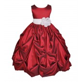 Apple / White Satin Taffeta Pick-Up Bubble Flower Girl Dress 301S