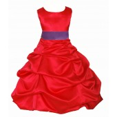 Red/Wisteria Satin Pick-Up Bubble Flower Girl Dress Christmas 806S