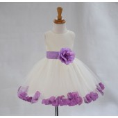 Ivory/Wisteria Tulle Rose Petals Knee Length Flower Girl Dress 306S