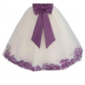 Ivory / Wisteria Floral Lace Heart Cutout Flower Girl Dress with Petals 185T