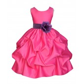 Fuchsia/Wisteria Satin Pick-Up Flower Girl Dress Recital 208T