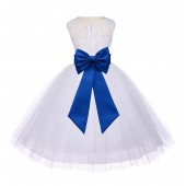 Ivory/Royal Blue Floral Lace Bodice Tulle Flower Girl Dress Bridesmaid 153T