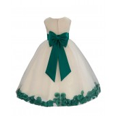 Ivory/Jade Tulle Rose Petals Flower Girl Dress Recital 302a